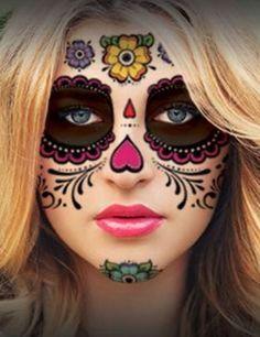 Halloween Makeup Sugar Skull, Sugar Skull Costume, Cute Halloween Makeup, Scary Halloween, Sugar Skull Makeup Tutorial, Halloween Halloween, Candy Skull Makeup, Skull Face Makeup, Sugar Skull Makeup Easy
