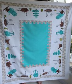 Vintage Tablecloth teal, brown and green kitchen motif 1950's.