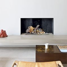 Living room with minimalist fireplace | Living rooms | Fireplace design ideas | housetohome.co.uk
