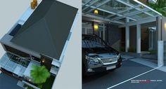 Desain Rumah 2 Lantai Minimalis_Tropis Modern, lahan 13 X 23.6 M, Luas bangunan +400 M2,aksen desain fasade depan batu alam dengan desain teras dak cor