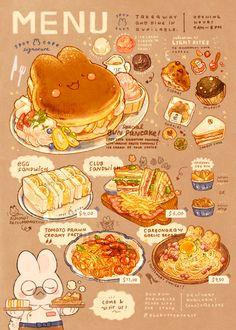 Cute Food Drawings, Kawaii Drawings, Cute Food Art, Cute Art, Aesthetic Food, Aesthetic Anime, Arte Do Kawaii, Wow Art, Cafe Food