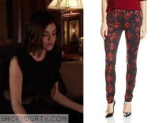 Pretty Little Liars: Season 6 Episode 4 Aria's  Red and Black Floral Jeans