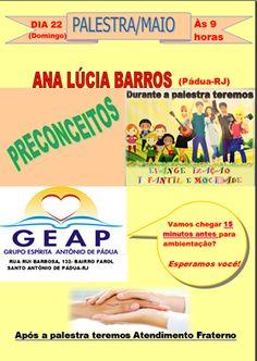 GEAP – Grupo Espírita Antonio de Pádua Convida para a sua Palestra Pública - Santo Antônio de Pádua – RJ - http://www.agendaespiritabrasil.com.br/2016/05/21/geap-grupo-espirita-antonio-de-padua-convida-para-sua-palestra-publica-santo-antonio-de-padua-rj-14/