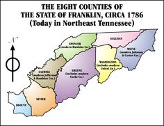 The State of Franklin was set up in 1784 out of the westerly portion of the colonial state of North Carolina.