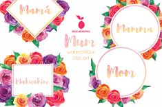 Watercolor Border, Watercolor Images, Watercolour, Mother's Day Clip Art, I Love My Mum, Paper Background, Paper Design, Happy Mothers Day, Craft Projects