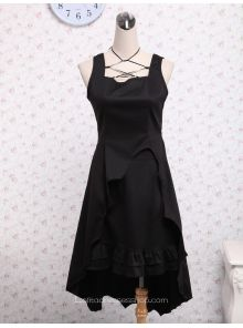 77d2bae3f2 Cheap Black Cotton Square Neck Ruffled Gothic Lolita Dress Sale At Lolita  Dresses Online Shop. We provide Lolita products with quality and best  service ...