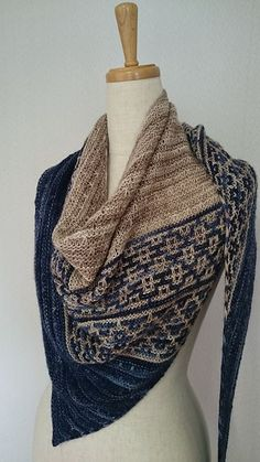 Crochet Patterns Wear Emiliana by Lisa Hannes ¬ malabrigo Mechita in Paris Night and Sand Bank Knit Cowl, Knitted Shawls, Crochet Scarves, Crochet Shawl, Crochet Yarn, Knitting Yarn, Hand Knitting, Crochet Vests, Crochet Edgings
