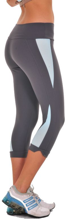 Bia Brazil Reverse Capri – Capri's have stripe down out leg with inserted mesh on outer hip and lower back leg. Bottom capri has a slit. Low-rise. #SL 2814 Supplex/Lycra  Colors: Black/Fuchsia, Black/Red, Navy/Aqua, Gray/Aqua (shown), Black//White, Coral/Gray  Price: $63.95