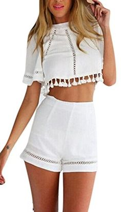 Lingswallow Womens 2 Piece Set Crop Top High Waist Shorts Romper Jumpsuit White * Check this awesome product by going to the link at the image.