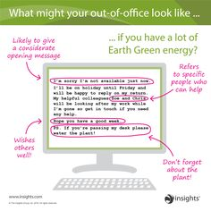 What might your out-of-office look like... Insights Discovery Earth Green Colour Energy