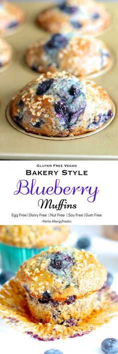 fluffy bakery style gluten free vegan blueberry muffins super food allergy friendly free of