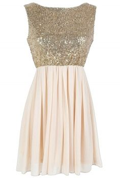 gold and cream outfit | Go For Gold Sequin and Chiffon Dress in Cream