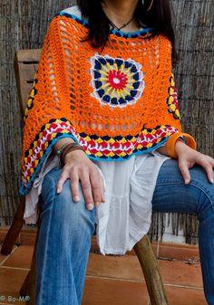 Poncho Etnic Cor de laranja