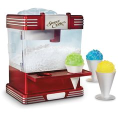 Nostalgia Countertop Snow Cone Maker Makes 20 Icy Treats, Includes 2 Reusable Plastic Cups & Ice Scoop, Retro Red Snow Cone Syrup, Snow Cones, Feng Shui, Reusable Plastic Cups, Hawaiian Shaved Ice, Snow Cone Machine, Ice Shavers, Small Kitchen Appliances, Kitchen Gadgets