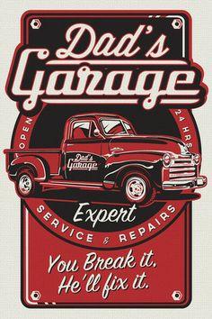 dad's garage pickup truck workshop vintage retro silk screen print pos - Retro Screenprints