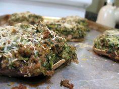spinach and artichoke stuffed #paleo portabella mushrooms