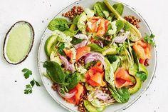 Smoked salmon salad with green goddess dressing