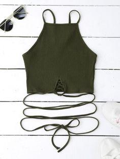 Spaghetti Straps Strappy Tank Top - Blackish Green S Cute Tank Tops, Black Tank Tops, Diy Tops, Crop Top Outfits, Trendy Outfits, Stylish Tops, Green Fashion, Tao, Spaghetti Straps