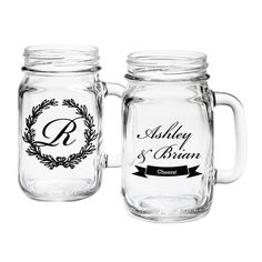 Custom mason jar wedding favors! 97084/ET. As low as $3.39 each. #wedding #masonjar #partyfavors