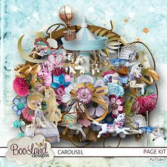 New from #BooLandDesigns at #DigiScrapStudioUp and down and round and round, the ponies rise and fall.  Purple, pink and crystal blue, the Carousel has it all.  $5.57