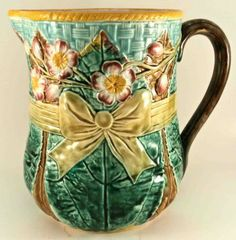 Fielding Ribbon Pitcher. England. Image from the Karmason Library of the Majolica International Society.