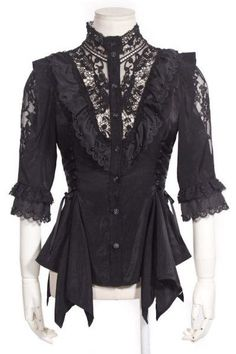 Bat Sleeve Openwork Lace Blouse by RQ-BL: