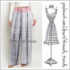 "Tie Dye Palazzo Pants Resort wear tie dye palazzo pants. Grey, white & black with pink detail stitching around elastic waist. Made of rayon. Inseam 42"" elastic waist S/M 24"" to 26"", M/L 27"" to 29"". Threads & Trends Pants"