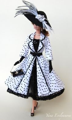 Cute black and withe polka dot. Tonner Barbie OOAK doll.