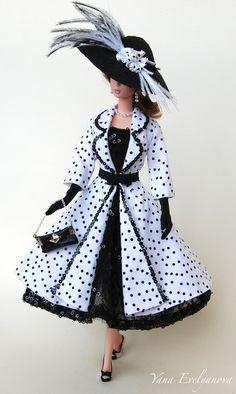 Cute black and withe polka dot. Tonner Barbie OOAK doll.