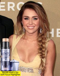 Get Miley Cyrus's Golden Peach Makeup & Side Braided Hairstyle