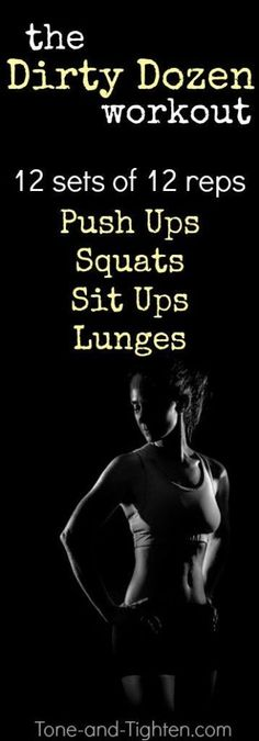 One of my all-time favorite at-home workouts! 12 sets of 12 reps of 4 of my favorite bodyweight exercises for time! How fast can you get through it? From Tone-and-Tighten.com
