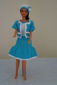 Caribben blue and white Barbie dress with matching jacket and hat. by CreativeCrochetbyChris, $15.00 USD