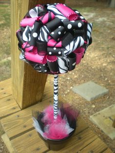 Centerpiece for minnie/zebra print party