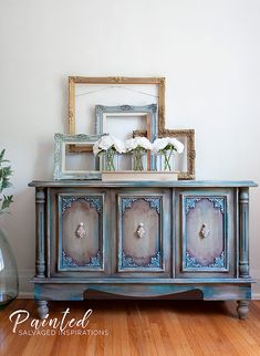 Furniture Painting with Wax - Buffet Makeove