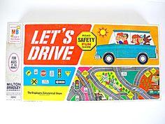 Vintage 1968 Milton Bradley Lets Drive Board Game With Box