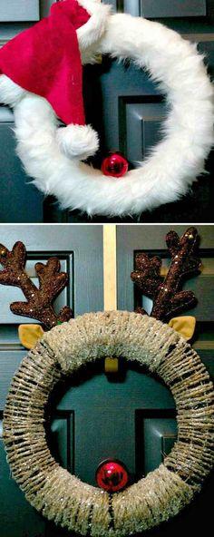 couronne de porte artisanale pour les fêtes de Noël et déco avec des boules rouges et bonnet de Noël