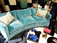 turquoise sofa - so pretty and so comfy looking Shabby Chic Sofa, Velvet Furniture, Sofa Furniture, Office Furniture, Gebogenes Sofa, Turquoise Sofa, Curved Sofa, Living Spaces, Living Room