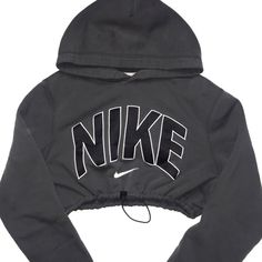 Reworked Nike Crop Hoody Charcoal ($48) ❤ liked on Polyvore featuring nike