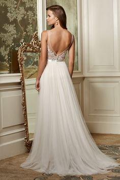 Wtoo Brides Persiphone Gown, if you love the back, wait until you see the front! watters.com