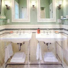 Bathroom, White Combine Dark Blue Colored Design Vintage Tile For Bathroom Design Patterns Also Combine Double Sink Design Ideas: Looking for Some Designs of Vintage Bathroom Tile Patterns Vintage Bathroom Sinks, Retro Bathrooms, Victorian Bathroom, Upstairs Bathrooms, Small Bathroom, Bathrooms With Pedestal Sinks, Bathroom Wall, Vintage Bathroom Lighting, Wooden Bathroom