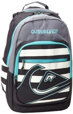 """Quiksilver Men's Schoolie Backpack, Grey/White/Black/Blue, One Size Quiksilver. $45.00. Fleece lined valuables pocket. Volume: 32L / Size: 17""""x12.5""""x9"""". Insulated cooler pocket. 100% Polyester. Durable q-tec fabric. Multiple compartments for organizing your gear. Hand Wash"""