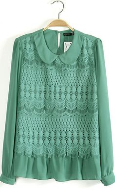 Lace primer shirt long-sleeved lace shirt Green nice