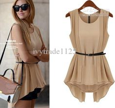 Scott P: I love the drape of this top. Great shape.  FASHION EURO ELEGANT STYLE FRONT BACK IRREGULAR CHIFFON BLOUSE WITH BELT LADY GIRL CASUAL SLEEVELESS BLOUSE FREE SHIP