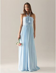 Sheath/ Column Halter Floor-length Chiffon Over Elastic Satin Bridesmaid/ Wedding Party Dress