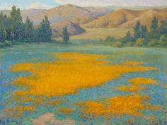 Archival Canvas & Fine Art Prints, Quality Posters, & Framed Reproductions of Calce de Oro or Shimmering Gold Poppy Field near Banning by John Marshall Gamble. Choose the size & framing for your style. Canvas Art Prints, Fine Art Prints, Turquoise Background, Landscape Paintings, Oil Paintings, Landscapes, Western Art, Poster Prints, Art Posters