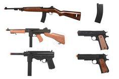 WWII Allies BATTLE Kit: M1 Carbine   M1A1   M3   M1911 Airsoft Guns