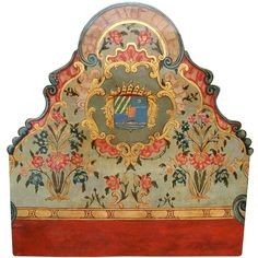 Italian or Venetian painted armorial boiserie panel or headboard | From a unique collection of antique and modern beds at http://www.1stdibs.com/furniture/more-furniture-collectibles/beds/