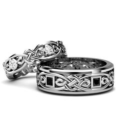 Wedding Rings 925 Sterling Silver Celtic Couple Rings for His and Her - Gothic Wedding Rings, Skull Wedding Ring, Gothic Engagement Ring, Celtic Wedding Rings, Vintage Engagement Rings, Wedding Bands, Solitaire Engagement, Wedding Jewelry, His And Hers Jewelry