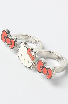 Loungefly The Hello Kitty Double Bow Two Finger Ring #Karmaloop #HelloKitty