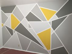 20 ideas for wallpaper accent wall yellow Bedroom Wall Designs, Wall Art Designs, Bedroom Decor, Paint Designs, Room Wall Painting, Room Paint, Room Colors, Wall Colors, Geometric Wall Paint